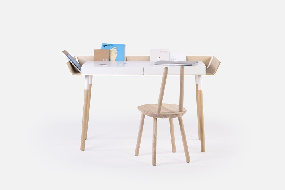 "When Lithuanian-born Designer Inesa Malafej designed ""My writing desk"" (MWD) for Emko, she was aiming to reduce clutter that creative work brings to the table. The result is a desk which has its storage space organized around the table-top, so necessary objects can always be in sight, tidy and easily accessible."