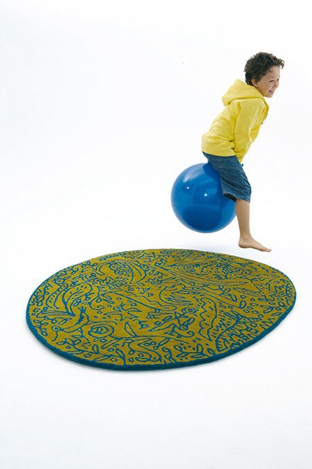 It is easy to imagine that this whimsical rug could play just as well in a child's room as in a common living area.