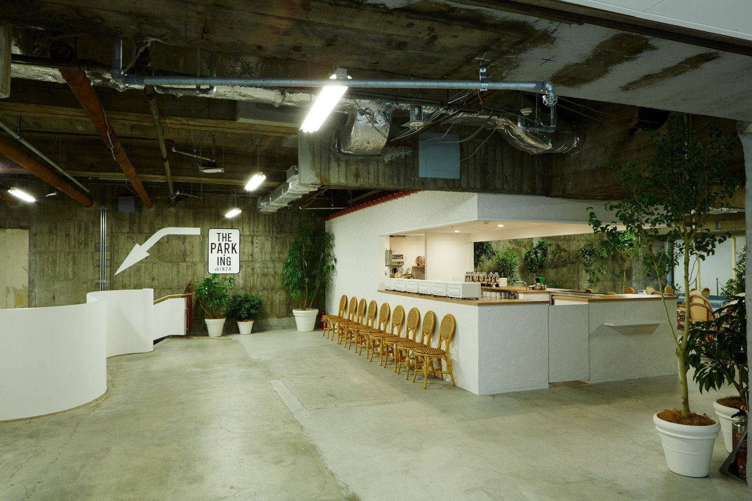 A cafe and record shop welcome visitors to the first level on the subterranean shopping experience Park-Ing Ginza.