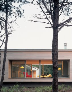 Spotted: 10 Modern Homes in the Hamptons - Photo 1 of 10 - Viewed from the street, the house's kitchen/living area—raised on a platform with massive picture windows—resembles a stage. Banks and Lazar plan to enhance the privacy by planting trees and shrubs.