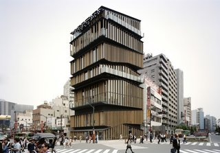 Architect Spotlight: 12 Works by Japanese Architect Kengo Kuma - Photo 1 of 12 - Resembling a stack of smaller structures with asymmetrical roofs, the verticality of the Asakusa Culture Tourist Information Center reflects the liveliness of the vibrant neighborhood that surrounds it.