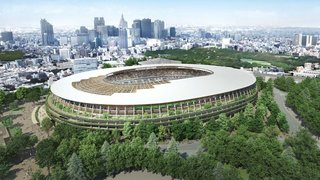 Currently in the works: Kuma's work on the Portland Japanese Garden was said to have inspired his 'urban forest' concept for the Japan National Stadium. The oval structure incorporates plants and trees on every level, a large oculus above the track, and a latticed larch-and-steel canopy.