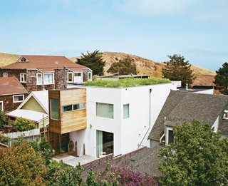 These 10 Green Roofs Bring Life—and So Much More—to These Modern Structures - Photo 6 of 11 - Liang's 580-square-foot green roof is like a piece of the hill; its indigenous vegetation—seeded by birds and wind—is irrigated only by seasonal rain and dew. Purple thistles, California poppies, clover, and dandelions have all taken root in the roughly ten-inch-deep, lightweight humus and grape-husk soil.