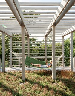 These 10 Green Roofs Bring Life—and So Much More—to These Modern Structures - Photo 11 of 11 - A second green roof is planted with sedum and plays host to one of the family's favorite spots: a hammock. The overhead trellis softens and balances the appearance of the facade.