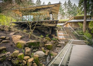 """Take a Tour of Kengo Kuma's Expansion of the Portland Japanese Garden - Photo 6 of 8 - Inside the Umami Cafe, Japanese carpentry was completed by Takumi Company in Seattle, while Tyvek was used to mimic Japanese """"washi."""""""