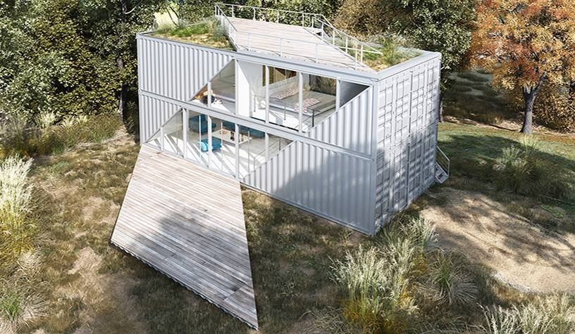 Based in Sacramento, CA, TAYNR specializes in prefab homes built from shipping containers. Tagged: Exterior, Shipping Container Building Type, Prefab Building Type, Flat RoofLine, Metal Siding Material, and Glass Siding Material.  Photo 6 of 10 in 10 Steel Prefabs That Are Both Modern and Practical