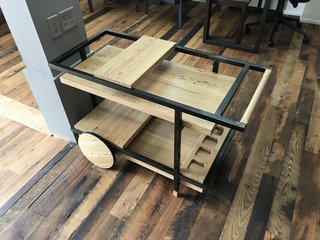 Design Week Portland Showcases the Talent of its Vibrant Design Community - Photo 11 of 13 - zenbox design showed a bar cart in reclaimed oak at the Pioneer Millworks open house.
