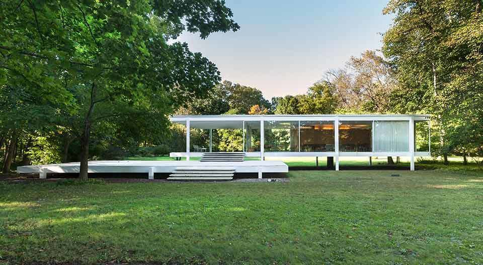 One of the most significant of Mies' works, the Farnsworth House in Plano, Illinois, was built between 1945 and 1951 for Dr. Edith Farnsworth as a weekend retreat. The home embraces his concept of a strong connection between structure and nature, and may be the fullest expression of his modernist ideals.  Photo 2 of 11 in Less Is More: 10 Buildings by Ludwig Mies van der Rohe