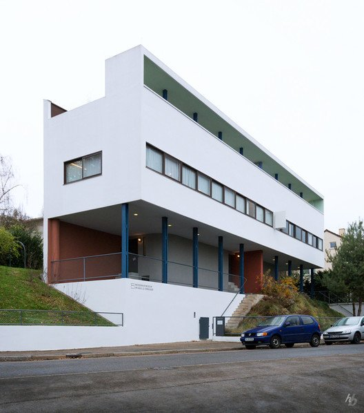 The two-family structure known as Houses 14 and 15, designed by Le Corbusier and Pierre Jeanneret in 1927, is one of the earliest built manifestations of the Five Points of a New Architecture.  Located on the outskirts of Stuttgart, the attached dwellings were part of the Weissenhof-Siedlung (Weissenhof Estate), an experimental housing development and exposition of Modern architecture.  Photo 9 of 11 in Spotlight on 10 Influential Works by Le Corbusier