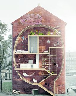 "Gestalten's New Book Shows How to Transform Small Spaces Into Design Marvels - Photo 16 of 16 - Danish architects Mateusz Mastalski and Ole Robin Storjohann's ""Live Between Buildings"" is a ""proposal"" for micro-living for urban areas."