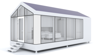 This Zero-Energy Passive Mobile Prefab Was Partially 3D Printed - Photo 2 of 5 - ModulOne includes solar panels that fuel power systems to control climate, clean water, and air quality. The frame is made of 3D-printed carbon fiber and fiberglass, and the entire house is recyclable.
