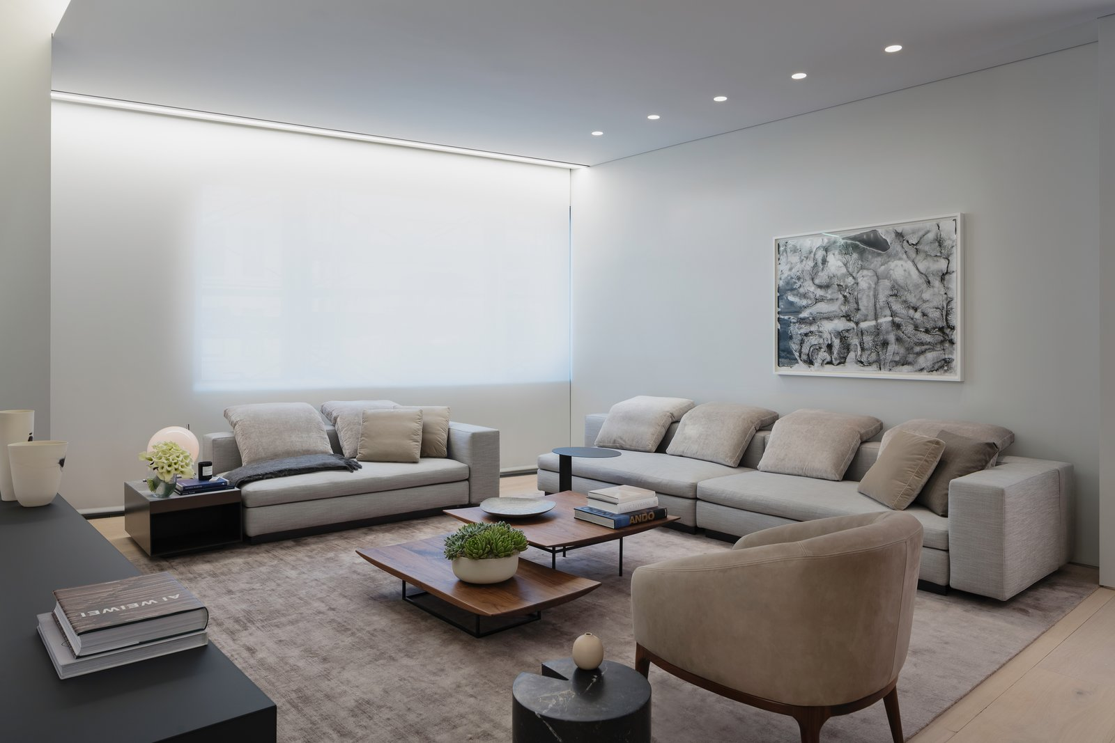 A soft and serene neutral color palette and a variety of textures create a luxurious yet comfortable ambiance.  Photo 7 of 10 in A Look Into NYC's 152 Elizabeth Street, Tadao Ando's First Residential Project Outside of Asia