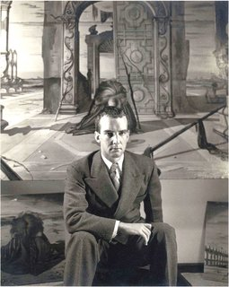 "Spotlight on John Yeon, the Father of Northwest Regional Architecture - Photo 14 of 14 - John Yeon photographed in 1941 at the Julien Levy Gallery in New York. He's seated in front of Eugene Berman's painting, ""Time and the Monuments,"" which Yeon had commissioned."
