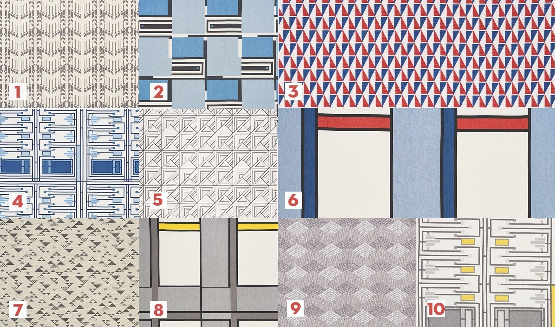 1. Price House Print West Grey 176891; 2. Design 101 Blues 176862; 3. Design 107 Red & Blue 176903; 4. Design 105 Blues 176870; 5. St. Marks Print Black 176910; 6. Design 103 Blue & Red 176880; 7. Design 513 Charcoal 72231; 8. Design 103 Grey & Yellow 176881; 9. Euchtman Stone 72213; 10. Design 105 Grey & Yellow 176871  Photo 8 of 12 in 10 Ways to Celebrate Frank Lloyd Wright's 150th Birthday