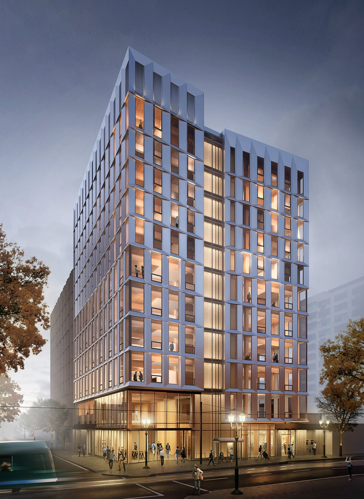 Exterior rendering of Framework  Photo 2 of 7 in The First Mass Timber High-Rise Building in the U.S. Gets the Green Light For Construction