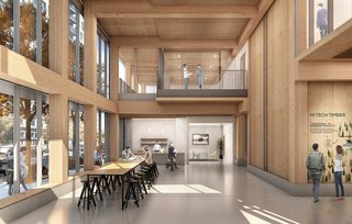 The First Mass Timber High-Rise Building in the U.S. Gets the Green Light For Construction - Photo 2 of 6 - Interior rendering, Framework.