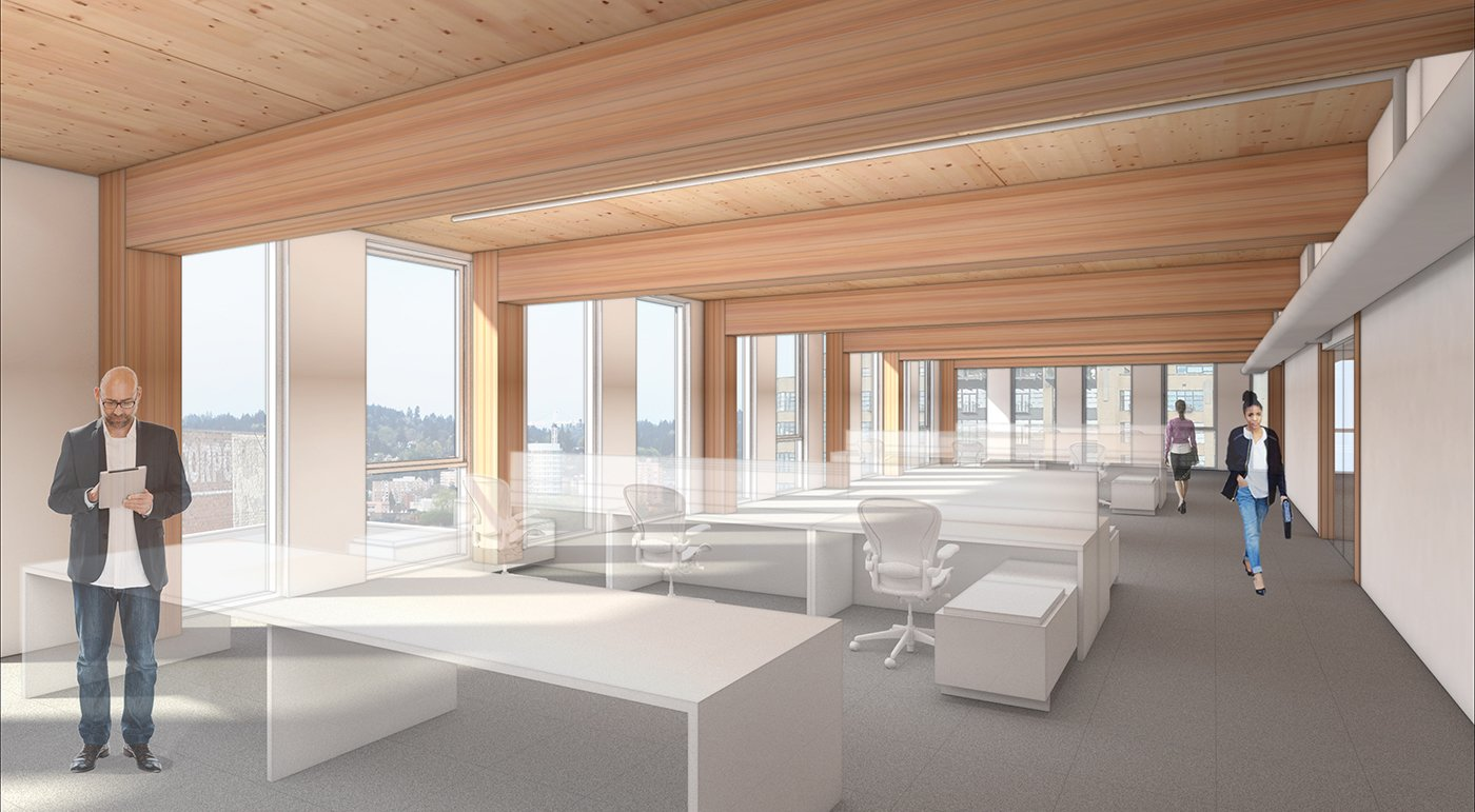 Office rendering, Framework. The First Mass Timber High-Rise Building in the U.S. Gets the Green Light For Construction - Photo 4 of 7