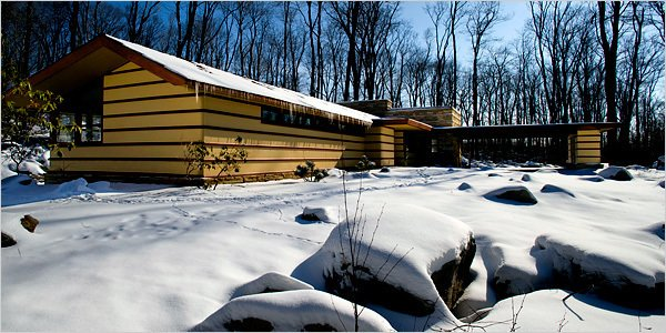 Built in 1957, This Wright-designed home was saved and dismantled from its original location in Illinois and relocated to its current location in Acme, Pennsylvania—only 30 minutes from the iconic Fallingwater. The Duncan House shares the 100-acre Polymath Park with three other homes for rent, designed by Wright's protégés.  Photo 10 of 11 in 10 Frank Lloyd Wright Homes Available to Rent Right Now