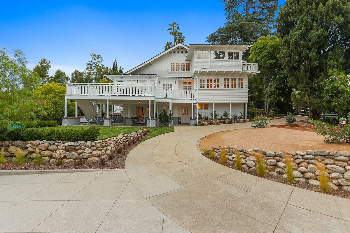 The original circular driveway has been restored and the garage relocated, allowing for expanded gardens and gathering spots as they were originally intended.  Photo 10 of 11 in With an Architectural Pedigree and Green Certification, This Pasadena Home Just Listed For $3.6M