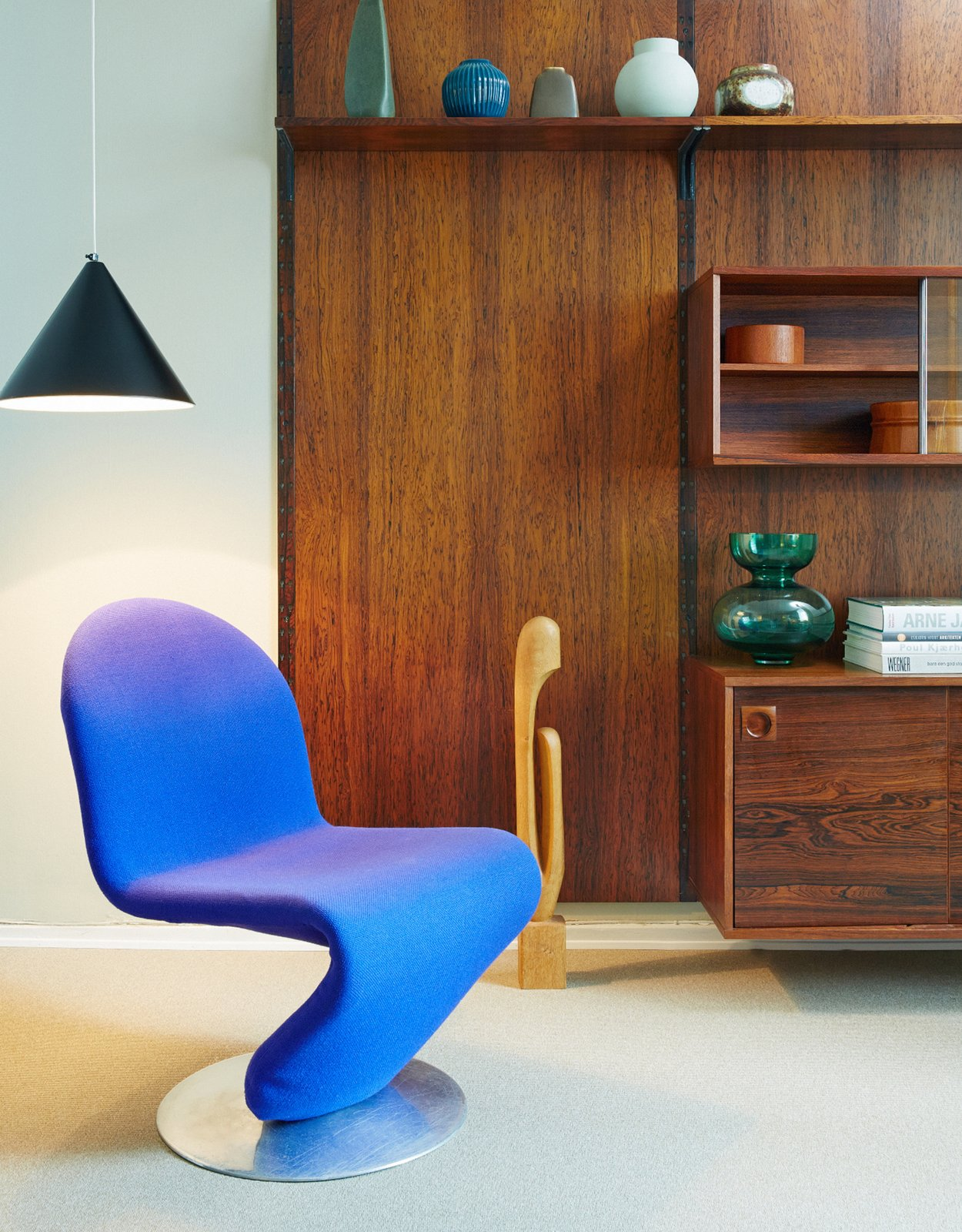 Collector's Suite Tagged: Living Room, Pendant Lighting, Chair, and Media Cabinet.  Photo 9 of 9 in Get Your Fix of Midcentury Scandinavian Design at This Copenhagen Hotel