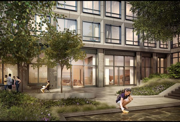3 New York City Residential Projects That Feature DIY Urban Gardens - Photo 2 of 7 - Residents of 550 Vanderbilt will also have the urban luxury of a courtyard with green space.
