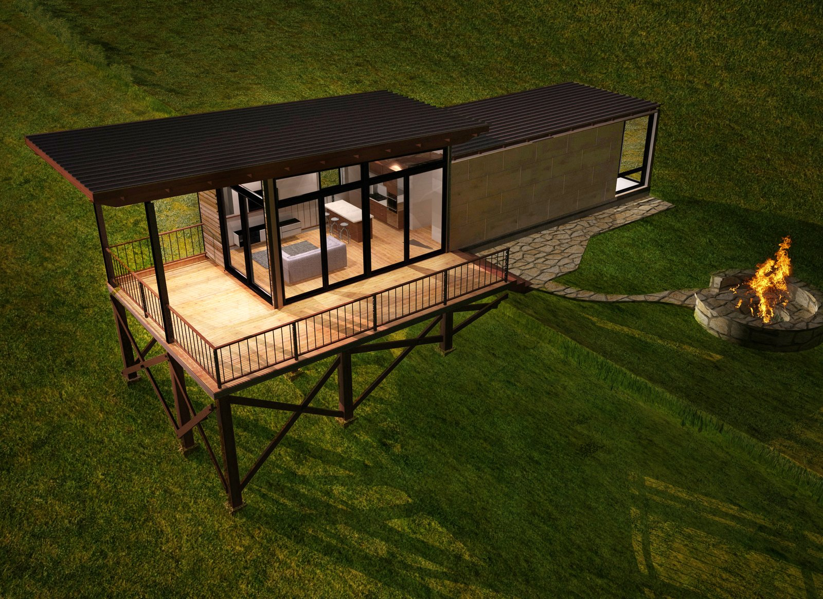 An elevated rendering of the Lookout model.  Photo 10 of 10 in These Customizable Modular Homes Can Make Your Tiny House Dreams Come True