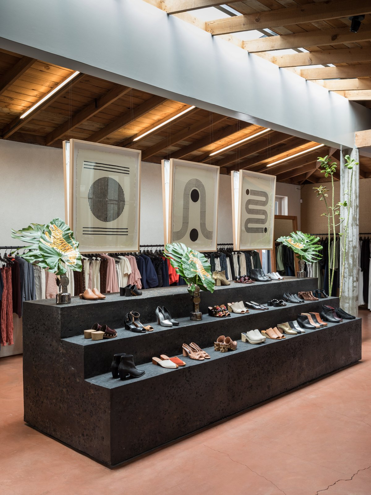 Block Shop prints perfectly integrate into the earthiness of Rachel Comey's Los Angeles boutique.