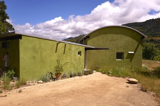 """Set on 40 Enchanting Acres in Ojai, This Award-Winning Green Residence Is on the Market For $2.2M - Photo 1 of 10 - The color green was selected for the exterior plaster, because it integrates into the landscape, and symbolizes the concept of """"green living""""."""