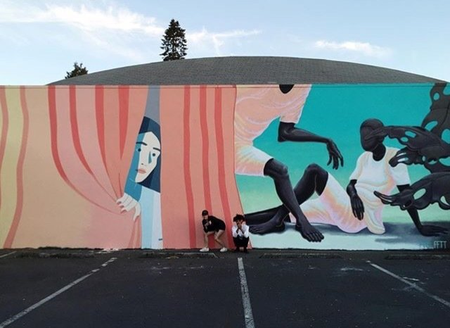 Local and international artists create lasting works that are publicly accessible. This mural by Molly Bounds and Alex Gardner is located at Disjecta, N. Interstate, in North Portland.  Photo 8 of 12 in Art and Design Come Together in These 10 Examples of Inspirational Wall Murals