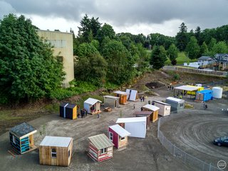 How Tiny Pods Are the Future For Portland's Houseless Community - Photo 7 of 7 - An aerial view of Kenton Women's Village.