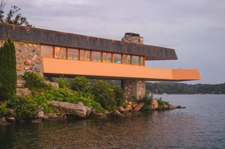 A Home on a Private Island That's Based on a Frank Lloyd Wright Design Is on the Market For $14.9M - Photo 3 of 14 - The home features the largest cantilever deck ever planned out by the architect.