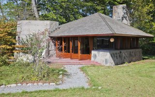 A Home on a Private Island That's Based on a Frank Lloyd Wright Design Is on the Market For $14.9M - Photo 8 of 14 - Exterior of the guest house.