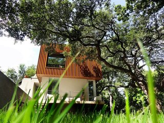 Feel at Home While Exploring Austin at One of These Modern Short-Term Rentals - Photo 13 of 17 - Designed to integrate the indoor and outdoor areas, two large windows open up the interiors to ample natural light and views of two 300-year-old oak trees and the nearby Bouldin Creek.