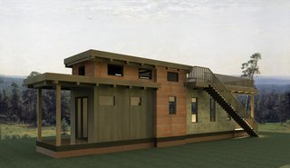 Test Out Tiny House Living at One of These Nature-Immersed Cabin Resorts - Photo 13 of 14 - A rendering of the Flat Roof Caboose cottage was customized for Wildwood by Wheelhaus.