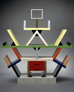 """An Exhibit on Italian Designer Ettore Sottsass Highlights His Colorful Work and Rebellious Ways - Photo 5 of 15 - """"Carlton"""" Room Divider, 1981. Wood, Plastic Laminate. 76 3/4 x 74 3/4 x 15 3/4 in. (194.9 x 189.9 x 40 cm). The Metropolitan Museum of Art, John C. Waddell Collection, Gift of John C. Waddell, 1997."""