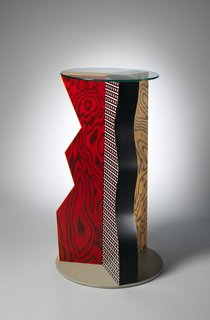 """An Exhibit on Italian Designer Ettore Sottsass Highlights His Colorful Work and Rebellious Ways - Photo 6 of 15 - """"Ivory"""" Table, 1985. Formica, Wood, Glass. H. 39-3/4 x Dia. 24 in. b: Glass top; Dia. 19-1/2 x Thickness 1/4 in. The Metropolitan Museum of Art, Gift of Dr. Michael Sze, 2002."""