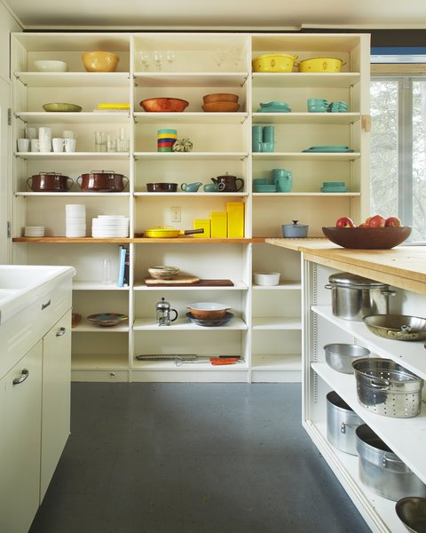 The colorful open kitchen.