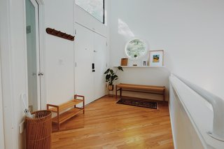This Tree House For Rent Near Downtown Portland Doubles As an Art Platform - Photo 2 of 14 - The three-level home's lofty entrance opens from the ground level, which looks out over the airy living room.