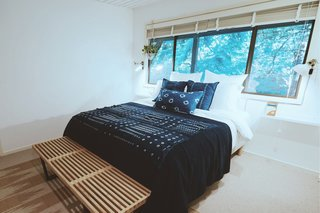 This Tree House For Rent Near Downtown Portland Doubles As an Art Platform - Photo 12 of 14 - The Shibori room features bedding made with the Japanese shibori dyeing technique, including pillowcases handmade by Vivian.