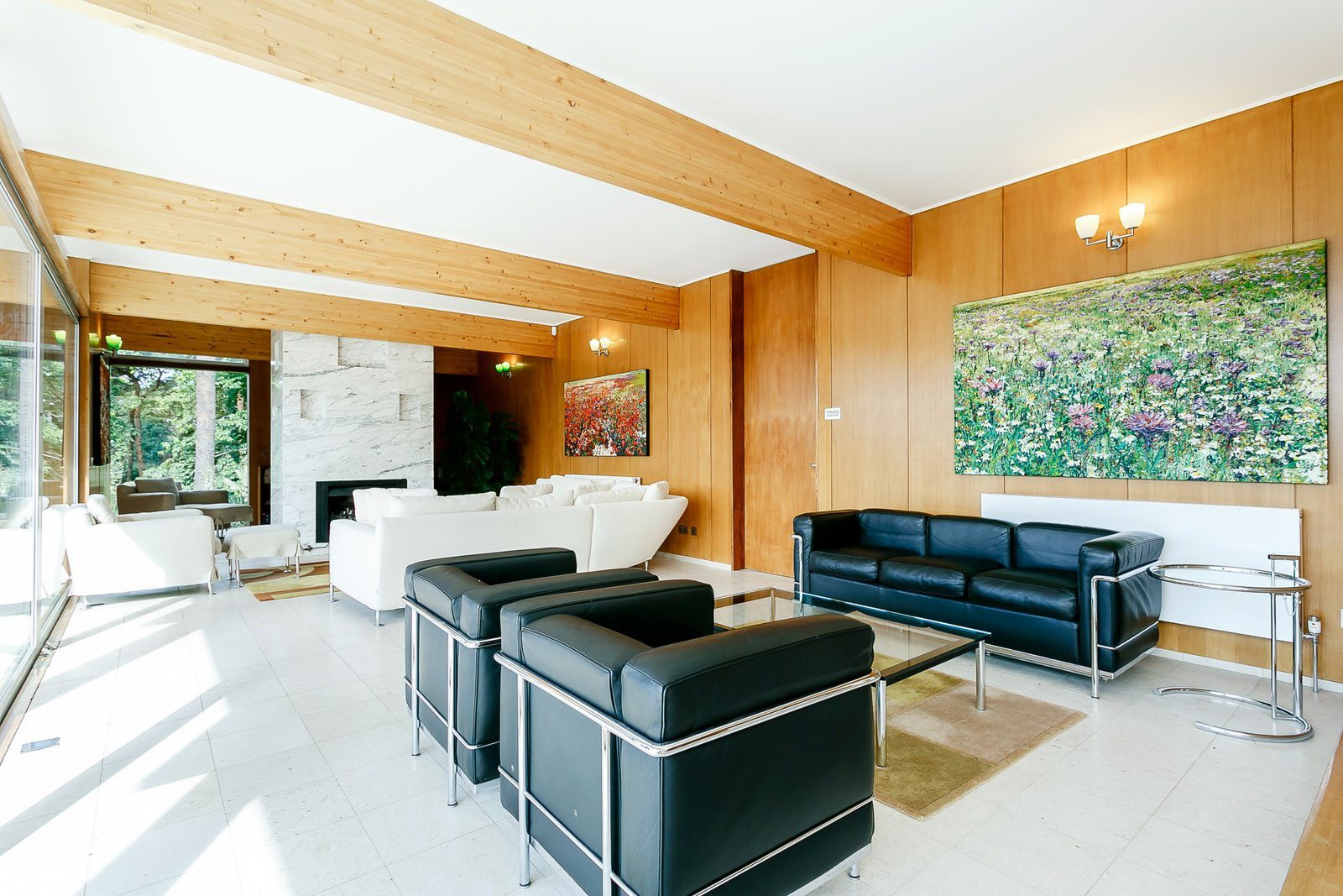 Tagged: Living, Coffee Tables, Sofa, End Tables, Ottomans, Standard Layout, Sectional, Chair, Rug, and Wall.  Best Living Sectional Standard Layout Photos from A Modernist Time Capsule by Erno Goldfinger Asks $4M