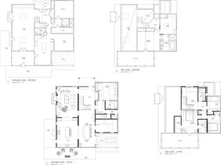 A Hamptons Beach Retreat Gets a Scandinavian-Style Makeover - Photo 19 of 19 - Before and after floor plans