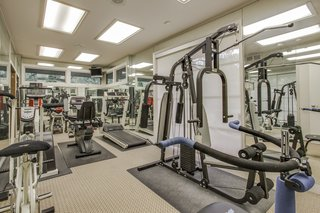 A Frank Lloyd Wright-Inspired Waterfront Masterpiece in Dallas Is Up For Auction - Photo 13 of 15 - The exercise room also has an indoor whirlpool spa.