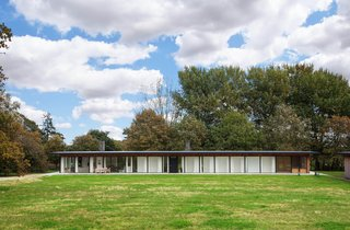 A Scandinavian-Style Pavilion in England Is Listed For $2.1M - Photo 11 of 11 - The steel frame and low profile with expanses of glass calls to mind the style of Mies van der Rohe.