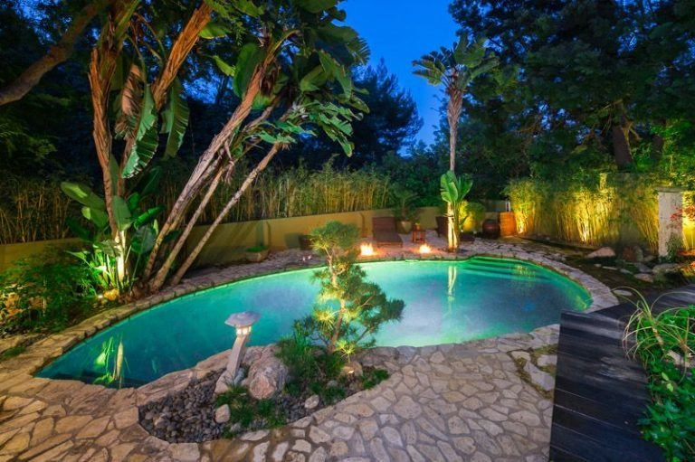 The lagoon-like swimming pool.