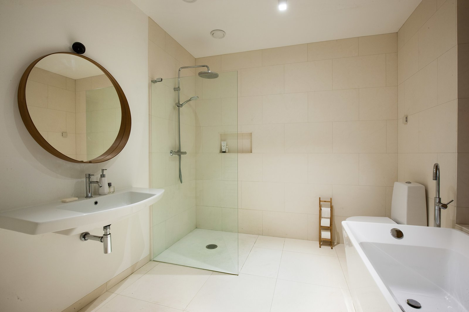 the minimalist bathroom design features an open shower and a freestanding tub tagged bath - Bathroom Designs With Freestanding Tubs
