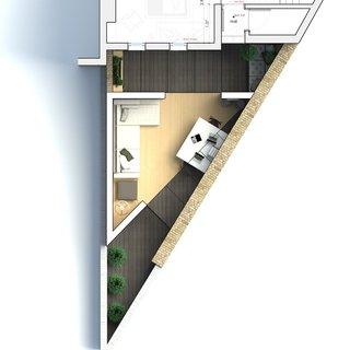 A Crafty Triangular Addition Carves Out Office Space in a London Backyard - Photo 11 of 11 - The Triangle floor plan