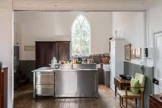 A Converted 19th-Century Church in the English Countryside Asks $923K - Photo 7 of 17 - The kitchen layout takes consideration of a chef's needs.