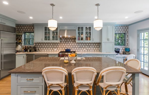 A large kitchen island makes entertaining a breeze.