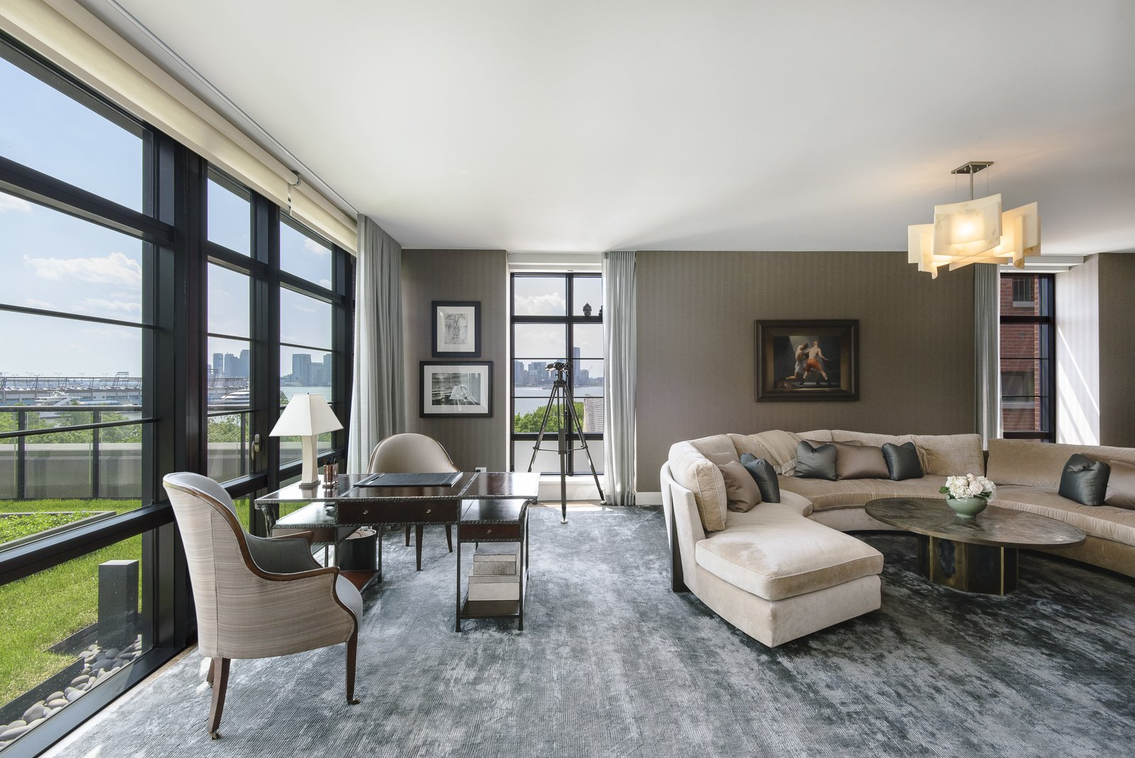 The home features an enormous great room with Hudson River views