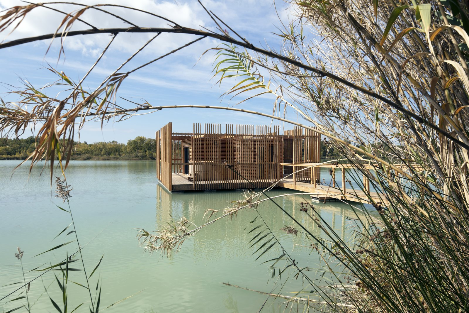 The architecture almost evokes primitive constructions in the midst of the lake's reeds.